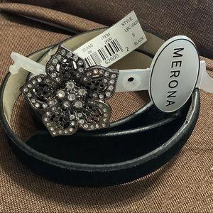 Merona belt rhinestone flower buckle suede NWT